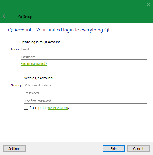 Screenshot: Entering Qt Account credentials