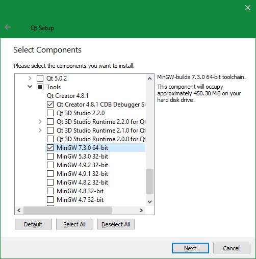 Screenshot: Selecting tools to install