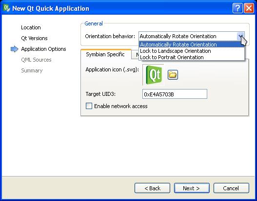 New Qt Quick Application