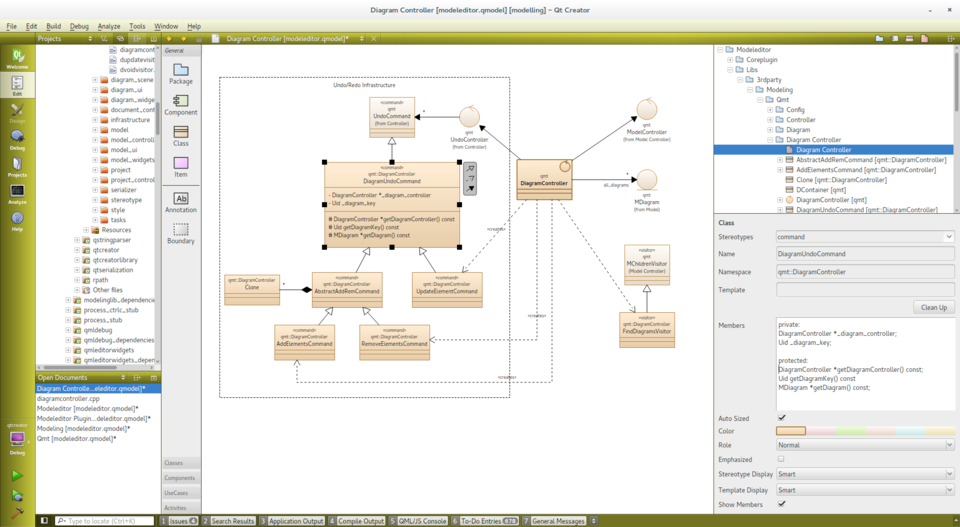 Modeleditor qt wiki modeleditor with toolbar class diagram model tree and selected elements properties ccuart